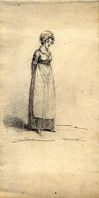 The early nineteenth-century maid. By William Brocas pencil drawing (National Library of Ireland) Jane Austen, Regency Dress, Regency Era, Frankenstein, Napoleon, Historical Clothing, Historical Costume, Historical Fiction, Working Woman
