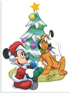 Christmas - Disney - Mickey Mouse & Pluto