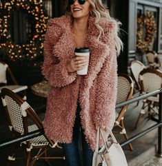 Elegant Faux Fur Coat Women 2018 Autumn Winter Warm Soft Fur Fleece Jacket Female Plush Overcoat Casual Outerwear pink S Fall Outfits, Fashion Outfits, Womens Fashion, Preppy Outfits, Fashion Ideas, Stylish Outfits, Unique Outfits, Coats For Women, Jackets For Women