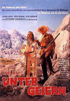 Among Vultures (1964) - Director by Alfred Vohrer and starring Stewart Granger, Pierre Brice, Elke Sommer and Götz George. It was also released as Frontier Hellcat. An American frontiersman Old Surehand and his Apache companion Winnetou expose a criminal gang who are murdering settlers and laying the blame on the local Native American tribe. The film was a co-production between West Germany, France, Italy and Yugoslavia.