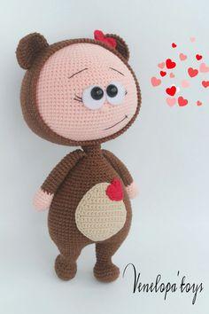 Doll With Bear Costume Stuffed Toy от VenelopaTOYS на Etsy