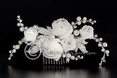 Flower Bridal Headpiece with Organza and Pave Leaves