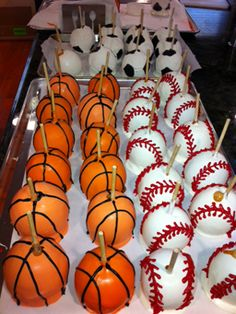 Sports themed caramel apples from PlayfulSweets.com