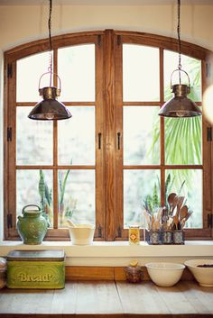 Industrial Lighting + wooden frame   viaRue Magazine