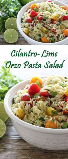 Cilantro-Lime Orzo Pasta Salad. Perfect for summer picnics, potlucks, and barbecues! via @stayathomechef