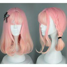 Pastel Pink Orange Air Curly Wig SP166711