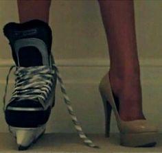 Skates and heels. thats how ringette is. or hockey for girls I defenentily would choose skates for sure! Kings Hockey, Women's Hockey, Blackhawks Hockey, Hockey Girls, Hockey Players, Hockey Stuff, Chicago Blackhawks, Funny Hockey, Baseball Cleats