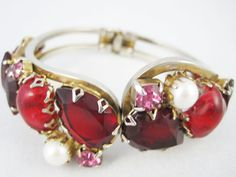 Vintage Juliana D Clamper Bracelet  Red by BakeliteArts on Etsy, $25.00
