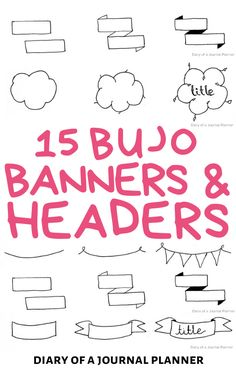 These bullet journal banner and header drawing how-tos are exactly what you need to embellish the pages of your bullet journal! #bulletjournalbanners #bulletjournalheaders #bujo #doodles Bullet Journal Headers And Banners, Bullet Journal Layout Templates, Bullet Journal Banner, Bullet Journal Printables, Doodle For Beginners, Banner Drawing, Header Banner, Simple Doodles, Planner Pages