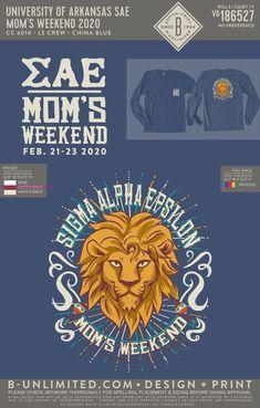 Sigma Alpha Epsilon Mom's Weekend Shirt | Fraternity Event | Greek Event #sigmaalphaepsilon #sae Sigma Alpha Epsilon, Bid Day Themes, University Of Arkansas, Dad Day, Blue China, Fraternity, Greek, Dads, Mom