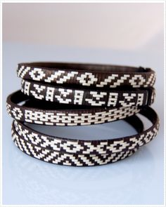Hand woven cuffs made by the Zenu indians from Colombia.