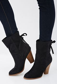 Faux Suede Bow Booties   FOREVER21   #stepitup