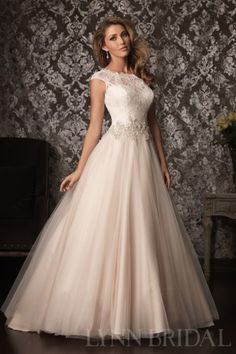 Classic Princess Bateau Cap Sleeves Open Back Lace Tulle Wedding Dress | LynnBridal.com