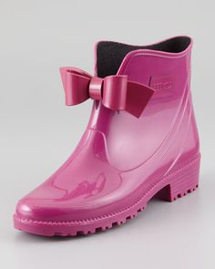 Bow-Front Short Rain Boot, Raspberry by RED Valentino - for the ultimate in 'garden chic'!
