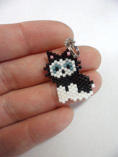 black cat charm beaded cat cat keychain от Creadivacreations