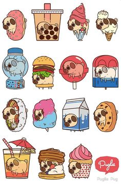 Two for my favorite things in the world pugs and food Cute Food Drawings, Cute Animal Drawings, Kawaii Drawings, Drawing Of Food, Drawing Style, Drawing Ideas, Stickers Kawaii, Cute Stickers, Chibi
