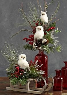 White Snow Owl Decorations