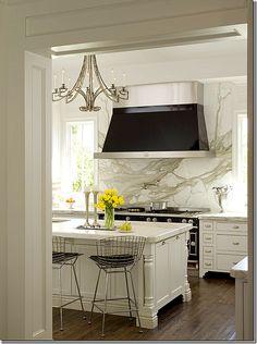 *gasp*...marble as range backsplash, range, range hood, hardware, chandelier, island, island details