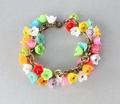Vintage Plastic Bell Flower charm Bracelet 1950s by RMSjewels, $40.00
