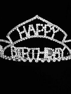 Silver Crystal Rhinestone Happy Birthday Tiara Crown Comb for Cake Topper  Perfect Birthday Crown for Everyone One  25 X 75 ** Click image to review more details.