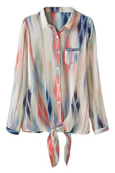 ROMWE Colorful Print Self-tie Buttoned Shirt