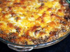 Hot Taco Dip - lean ground beef, onion, garlic, cream cheese, ranch dressing, chili powder, cumin, cheddar and pepper jack cheese