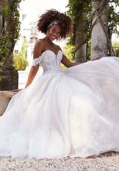 Ball gown wedding dress in organza over sparkle organza with sweetheart neckline and detachable, off-the-shoulder sleeves. Belle Wedding Dresses, Mori Lee Wedding Dress, Wedding Dress Pictures, Wedding Dress Styles, Designer Wedding Dresses, Wedding Gowns, Gown Photos, Perfect Wedding Dress, Wedding Bells