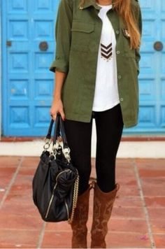 Easy casual outfit. Tshirt, military jacket, statement necklace, leggings, boots, fab bag
