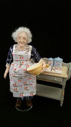 Gran baking www.juliecampbelldollartist.co.uk