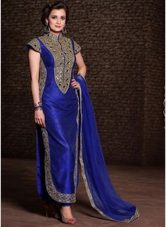 Royal Blue Banarasi Silk Heavy Stone Work Salwar Suit. http://www.angelnx.com/