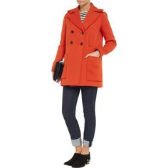Maje Twill coat ($220) ❤ liked on Polyvore featuring outerwear, coats, twill coat, red coat, maje coat, slim fit coat and red double breasted coat