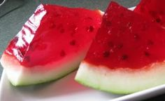 watermelon jello with choc. chip seeds -- need to make this at the beach.