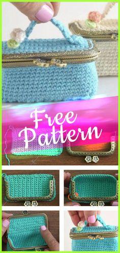 Crochet Mini Suitcase Coin Purse #MiniSuitcase #freecrochet #crochet #free #pattern #tutorialcrochet #crochetpatterns