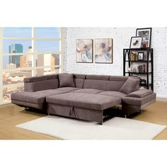 Hokku Designs Zalor Contemporary Sleeper Sofa Sectional Sofa With Chaise Sectional Sofa Couch Furniture Of America