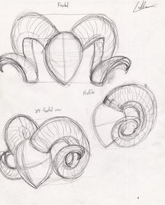 | Ram Horns, Drawings Of, Drawing Art, Drawing Ideas, Heart Art, Art Reference, Art Projects, How To Draw, 1