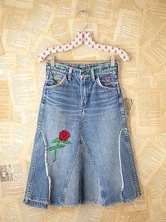Denim skirt from jeans - front