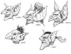 Goblin Heads - Male Art - World of Warcraft: Cataclysm Art Gallery World Of Warcraft, Warcraft Art, Monster Illustration, Fantasy Illustration, Face Sketch, Drawing Sketches, Goblin Art, Fantasy Kunst, Wow Art