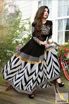 Pavitraa #Black and White Floor length #Anarkali Salwar Suits
