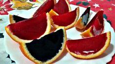 Gajos de colores de gelatina de naranja