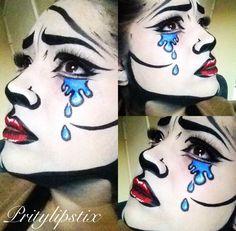 Cool comic-book pop art makeup look. Pop Art Makeup, Lip Art, Fx Makeup, Crazy Makeup, Halloween Looks, Halloween Face Makeup, Halloween Ideas, Comic Book Makeup, Cartoon Makeup