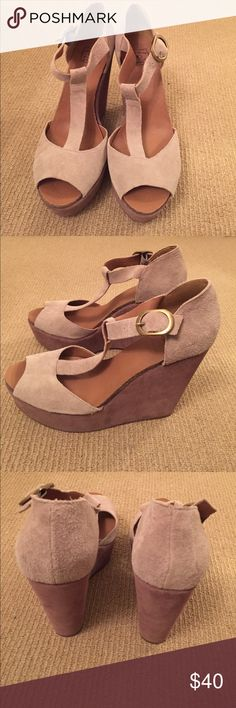 Lucky brand wedges! Lucky brand two tones wedges! Super comfortable and cute for the summer. Great condition. Worn once. Lucky Brand Shoes Wedges
