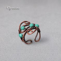 Wire wrapped copper ring adjustable statement boho ring by Artual