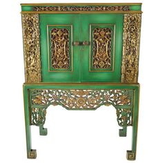 Emerald Green Chinese #Cabinet Inset With Gilt #Antique Panels  China  Circa 1950 #furniture
