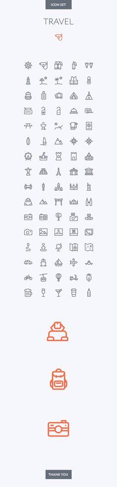 Travel icon set on Behance: