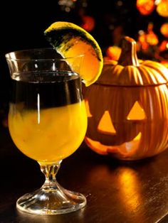 Spooky Screwdriver |   6 oz. orange juice  4 oz. black vodka    Pour orange juice into a glass and top with vodka.
