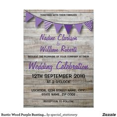 Rustic Wood Purple Bunting Wedding 13 Cm X 18 Cm Invitation Card