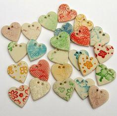 Heart Shaped Buttons  Porcelain  scrapbooking by melissaceramics, £1.50