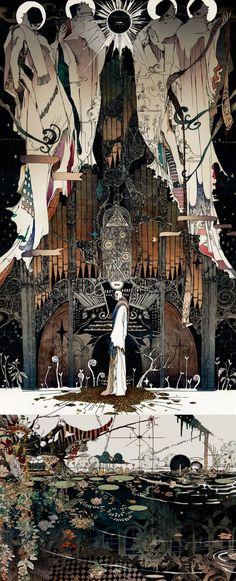 Illustrations by Akiya Kageichi - backgrounds Pretty Art, Cute Art, Occult Art, Fantasy Illustration, Art And Architecture, Cool Artwork, Dark Art, Pixel Art, Sculpture Art