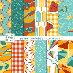 Summer Digital Papers - Summer Time Tileable/Seamless Pattern - website background, textile print, wrapping paper - Instant Download