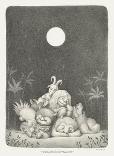 """Title: Goodnight (Tribute to Sendak's Where the Wild Things Are) Medium: Pencil on Arches watercolour paper [SOLD] Here's my contribution to the """"Book Show"""" group exhibition in Paris. I feel extremely honoured and nervous at the same time to be included on the side of Giants of the illustration and fine-art fields. Please visit the blog to see what I mean: http://the-book-show.blogspot.fr/The groupshow will run from July 3 - July 28, 2012 at Maghen gallery Paris (France)"""